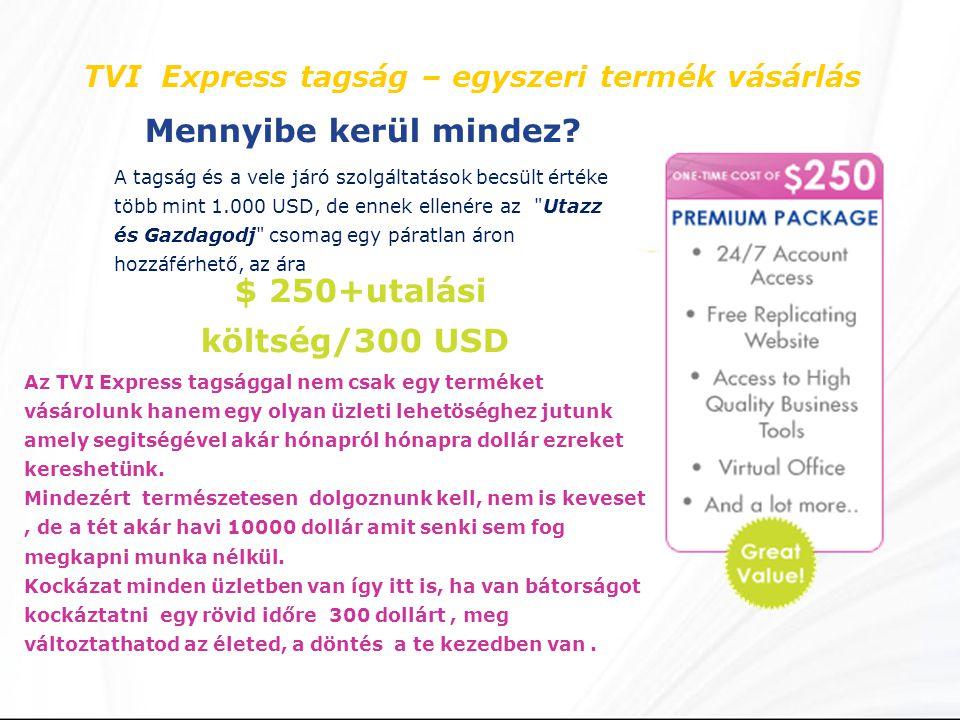 TVI Express tagság – egyszeri termék vásárlás Mennyibe kerül mindez.