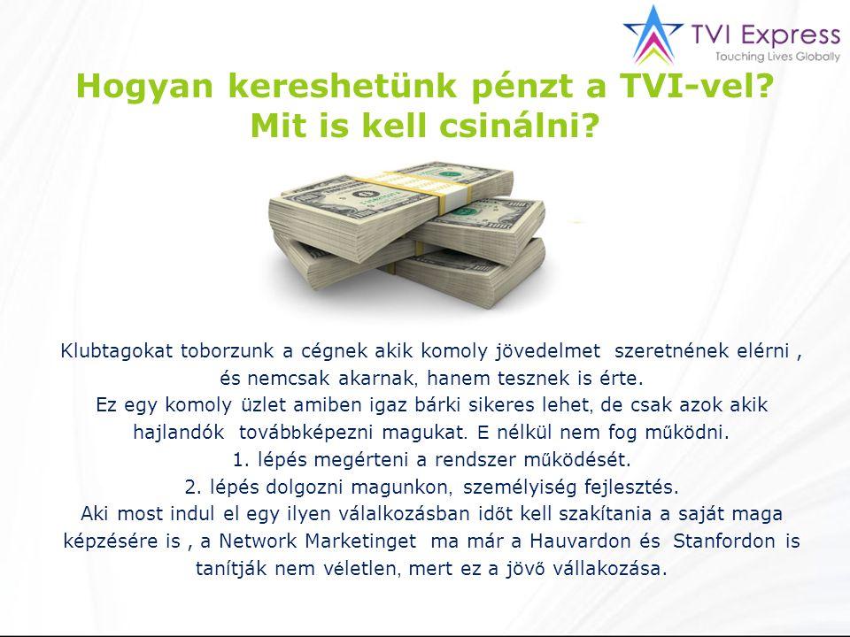 Hogyan kereshetünk pénzt a TVI-vel? Mit is kell csinálni? Klubtagokat toborzunk a cégnek akik komoly jövedelmet szeretnének elérni, és nemcsak akarnak