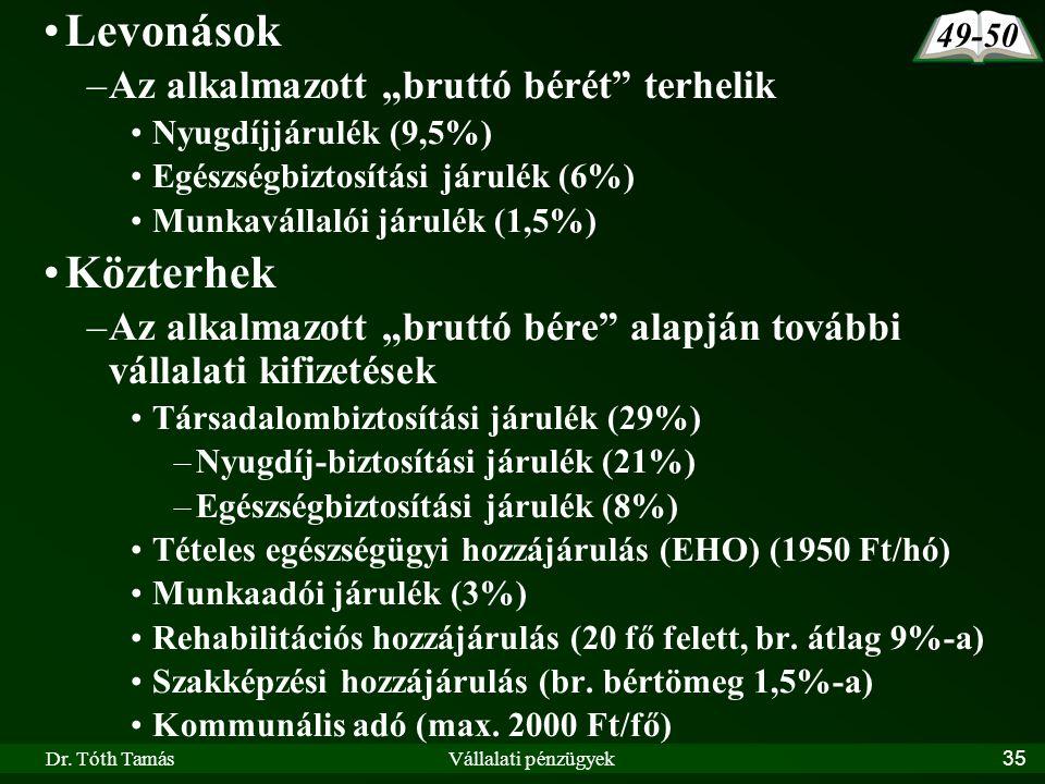 """Dr. Tóth TamásVállalati pénzügyek35 Levonások –Az alkalmazott """"bruttó bérét"""" terhelik Nyugdíjjárulék (9,5%) Egészségbiztosítási járulék (6%) Munkaváll"""