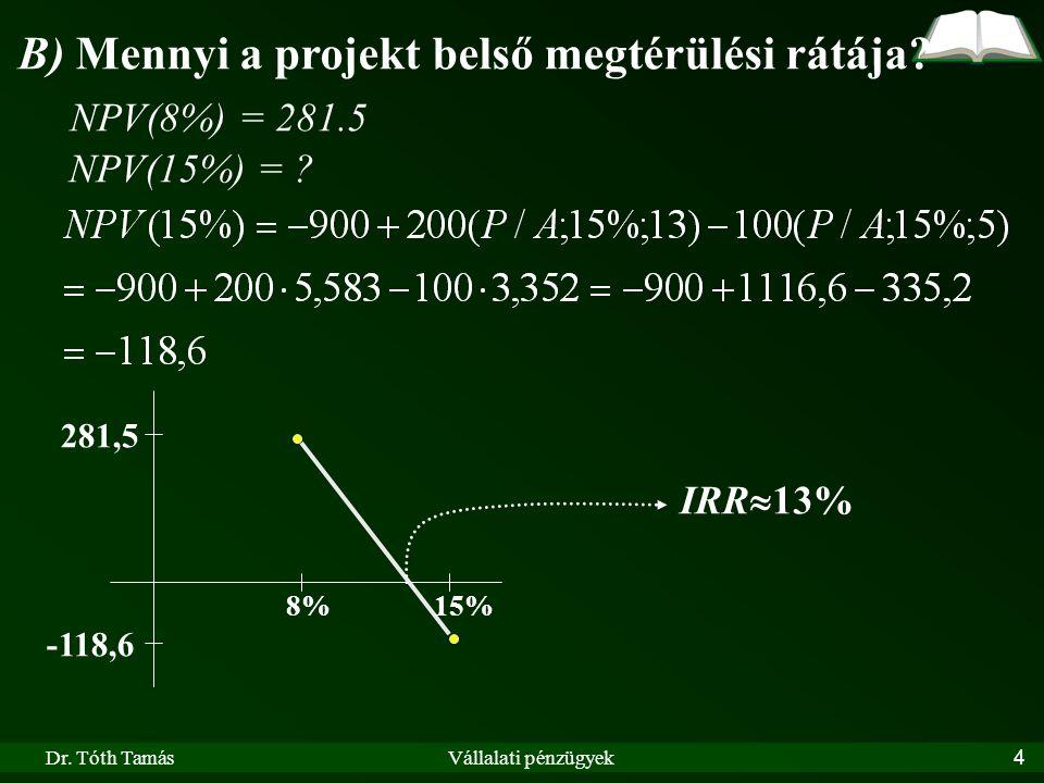 Dr. Tóth TamásVállalati pénzügyek4 B) Mennyi a projekt belső megtérülési rátája? NPV(8%) = 281.5 NPV(15%) = ? 8% -118,6 IRR  13% 281,5 15%