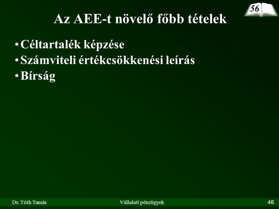 Dr. Tóth TamásVállalati pénzügyek46 Az AEE-t növelő főbb tételek Céltartalék képzése Számviteli értékcsökkenési leírás Bírság 56