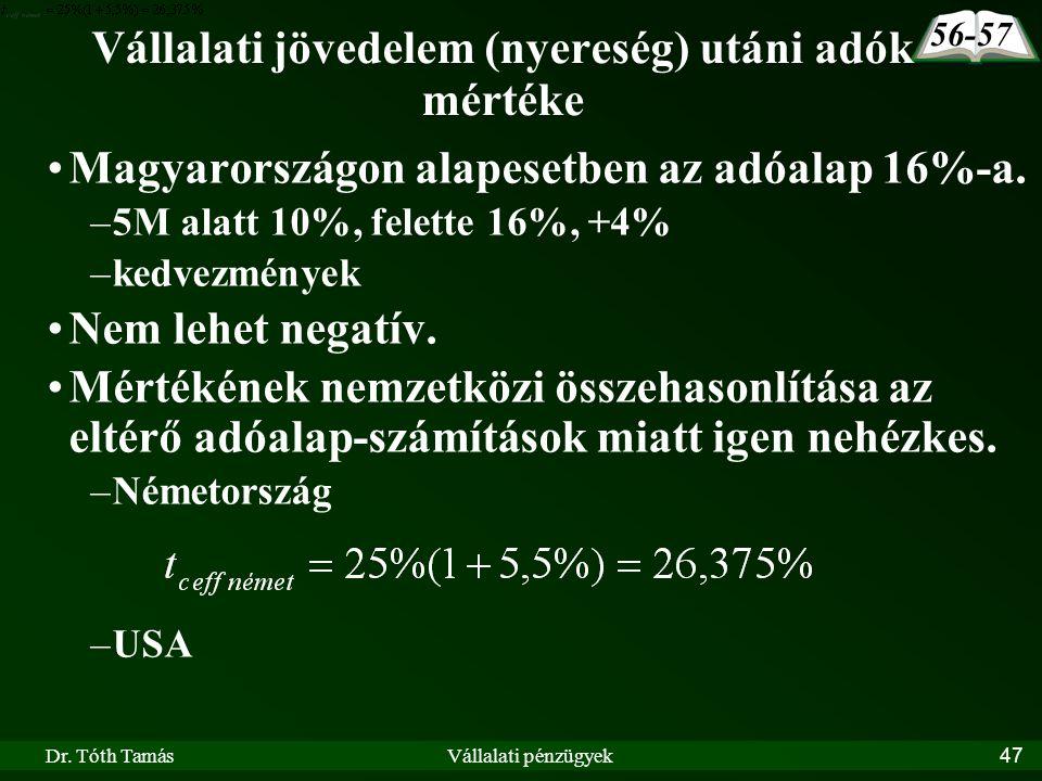 Dr. Tóth TamásVállalati pénzügyek47 Vállalati jövedelem (nyereség) utáni adók mértéke Magyarországon alapesetben az adóalap 16%-a. –5M alatt 10%, fele