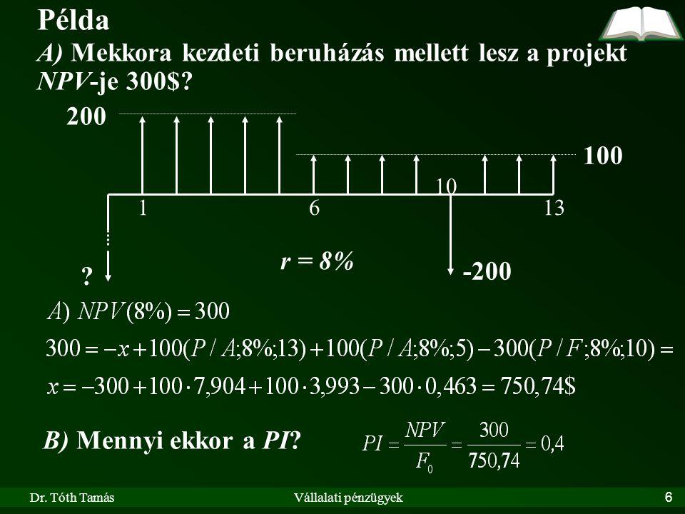 Dr. Tóth TamásVállalati pénzügyek6 Példa A) Mekkora kezdeti beruházás mellett lesz a projekt NPV-je 300$? 200 100 r = 8% 1613 ? -200 10 B) Mennyi ekko