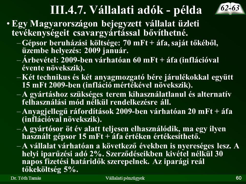 Dr. Tóth TamásVállalati pénzügyek60 III.4.7. Vállalati adók - példa Egy Magyarországon bejegyzett vállalat üzleti tevékenységeit csavargyártással bőví