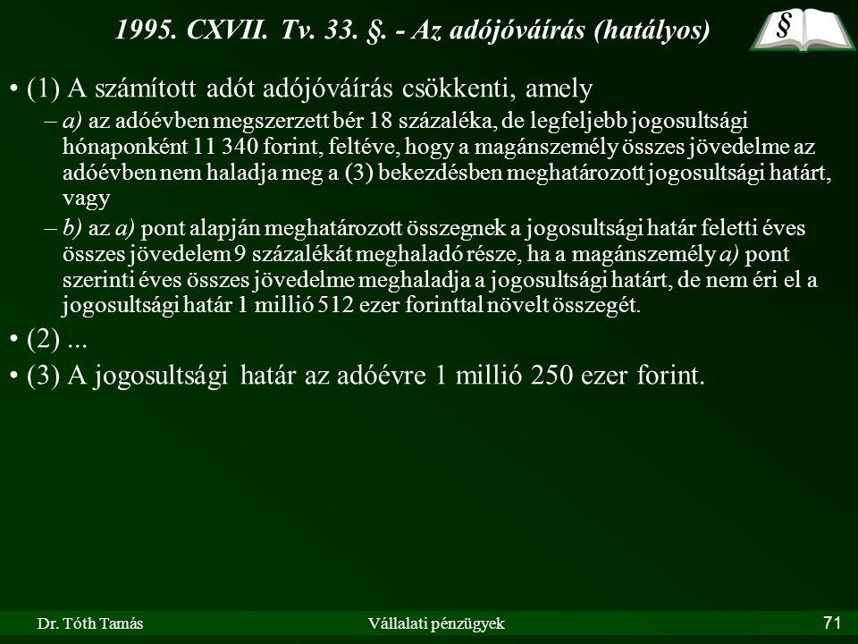 Dr. Tóth TamásVállalati pénzügyek71 1995. CXVII. Tv. 33. §. - Az adójóváírás (hatályos) (1) A számított adót adójóváírás csökkenti, amely –a) az adóév