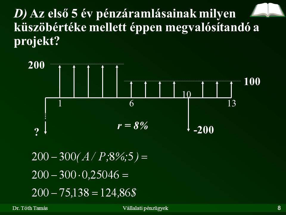 Dr.Tóth TamásVállalati pénzügyek39 III.4.5.1.