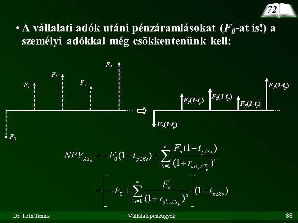 Dr. Tóth TamásVállalati pénzügyek86 A vállalati adók utáni pénzáramlásokat (F 0 -at is!) a személyi adókkal még csökkentenünk kell: 72