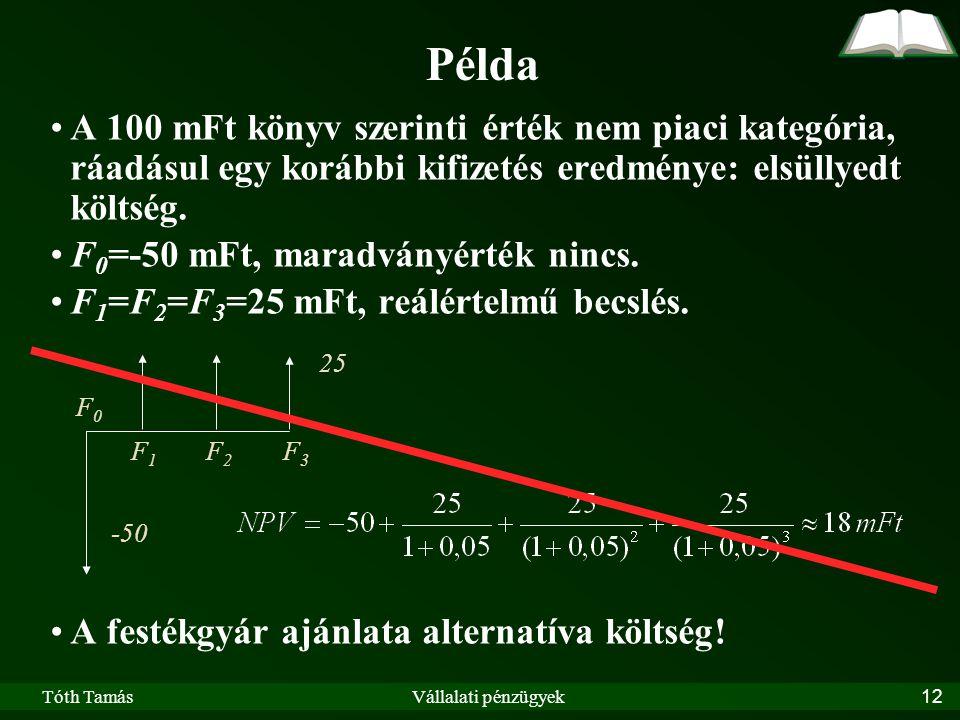 Tóth TamásVállalati pénzügyek12 Példa A 100 mFt könyv szerinti érték nem piaci kategória, ráadásul egy korábbi kifizetés eredménye: elsüllyedt költség.