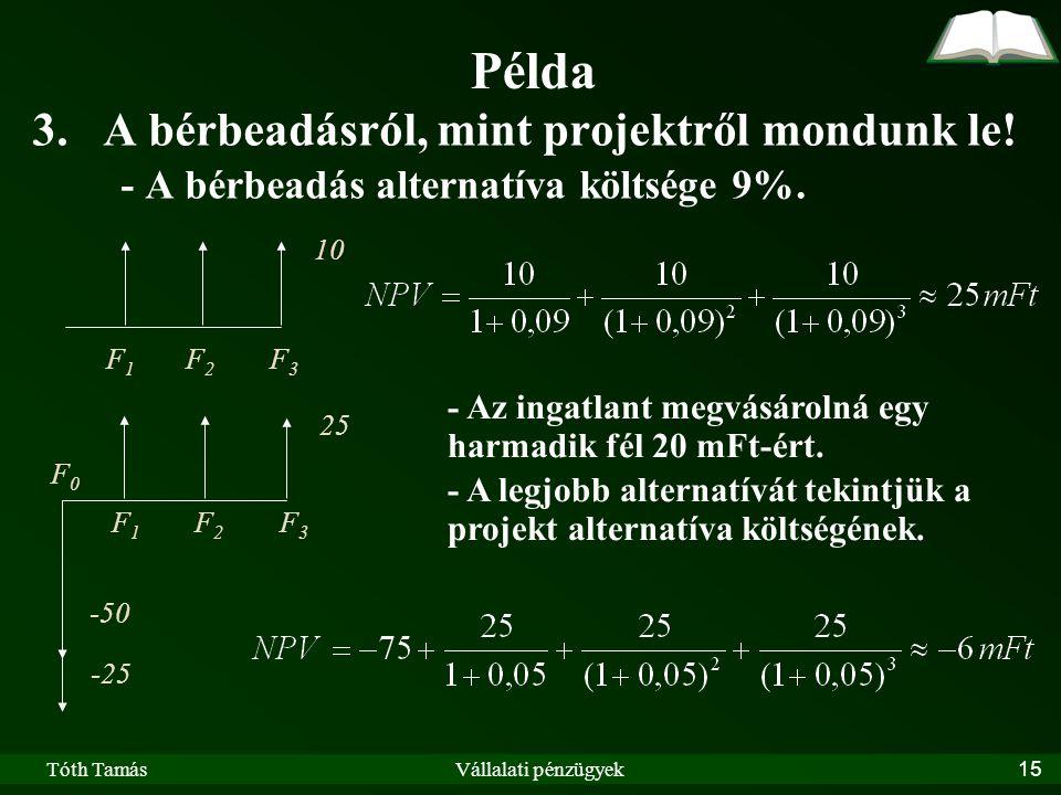 Tóth TamásVállalati pénzügyek15 Példa 3.A bérbeadásról, mint projektről mondunk le.