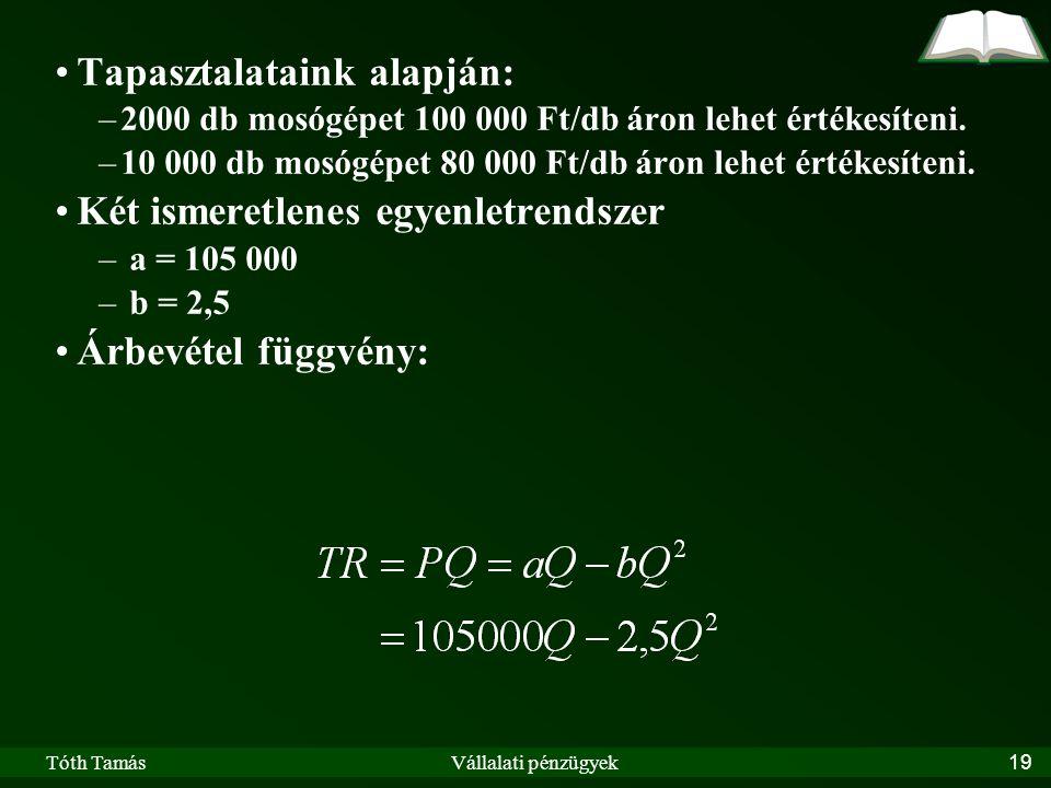 Tóth TamásVállalati pénzügyek19 Tapasztalataink alapján: –2000 db mosógépet 100 000 Ft/db áron lehet értékesíteni.