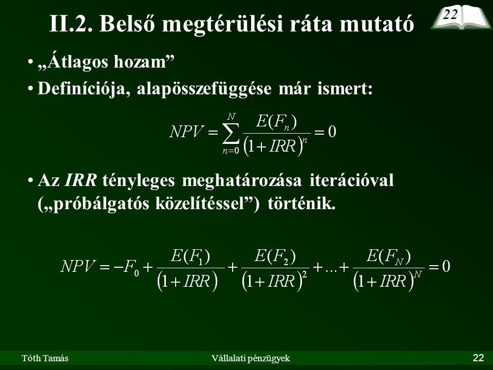 Tóth TamásVállalati pénzügyek22 II.2.