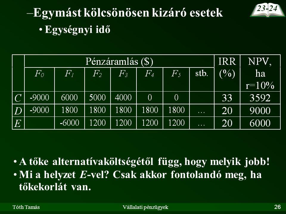 Tóth TamásVállalati pénzügyek26 –Egymást kölcsönösen kizáró esetek Egységnyi idő A tőke alternatívaköltségétől függ, hogy melyik jobb.