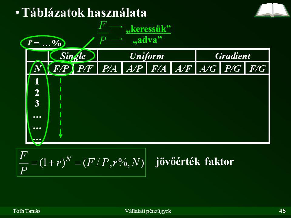 """Tóth TamásVállalati pénzügyek45 r Táblázatok használata """"keressük """"adva jövőérték faktor"""