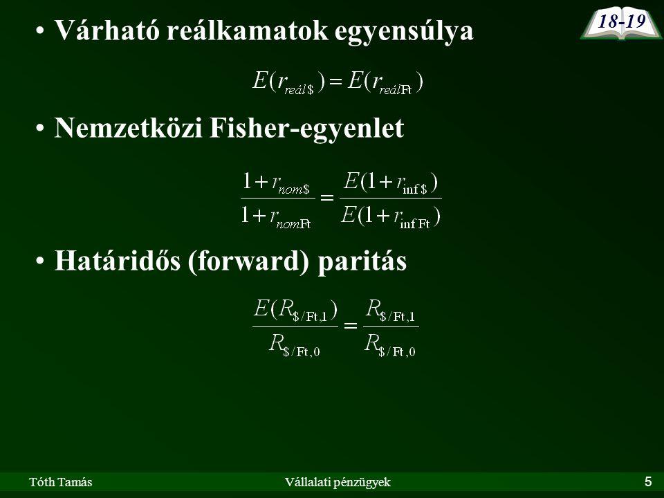 Tóth TamásVállalati pénzügyek5 Várható reálkamatok egyensúlya Nemzetközi Fisher-egyenlet Határidős (forward) paritás 18-19