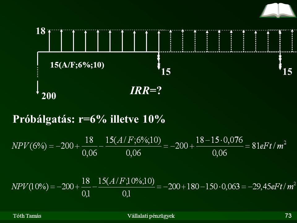 Tóth TamásVállalati pénzügyek73 15 18 200 IRR= Próbálgatás: r=6% illetve 10% 15 15(A/F;6%;10)