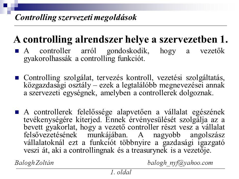 Balogh Zoltán balogh_nyf@yahoo.com 1. oldal A controller arról gondoskodik, hogy a vezetők gyakorolhassák a controlling funkciót. Controlling szolgála