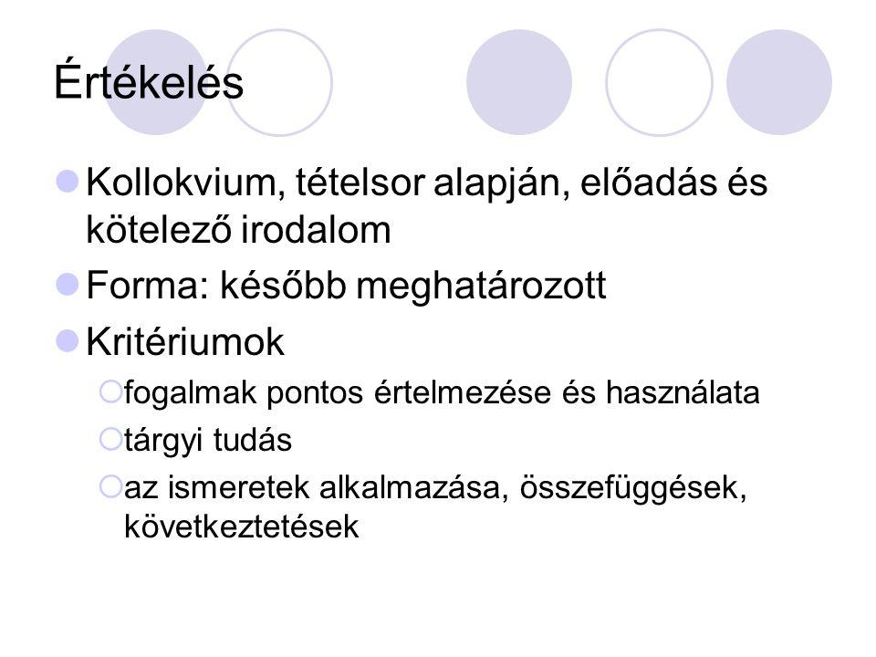 Értékelés Kollokvium, tételsor alapján, előadás és kötelező irodalom Forma: később meghatározott Kritériumok  fogalmak pontos értelmezése és használata  tárgyi tudás  az ismeretek alkalmazása, összefüggések, következtetések