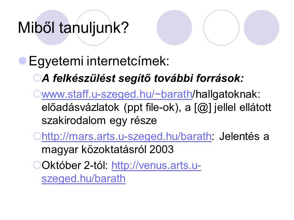 Miből tanuljunk? Egyetemi internetcímek:  A felkészülést segítő további források:  www.staff.u-szeged.hu/~barath/hallgatoknak: előadásvázlatok (ppt
