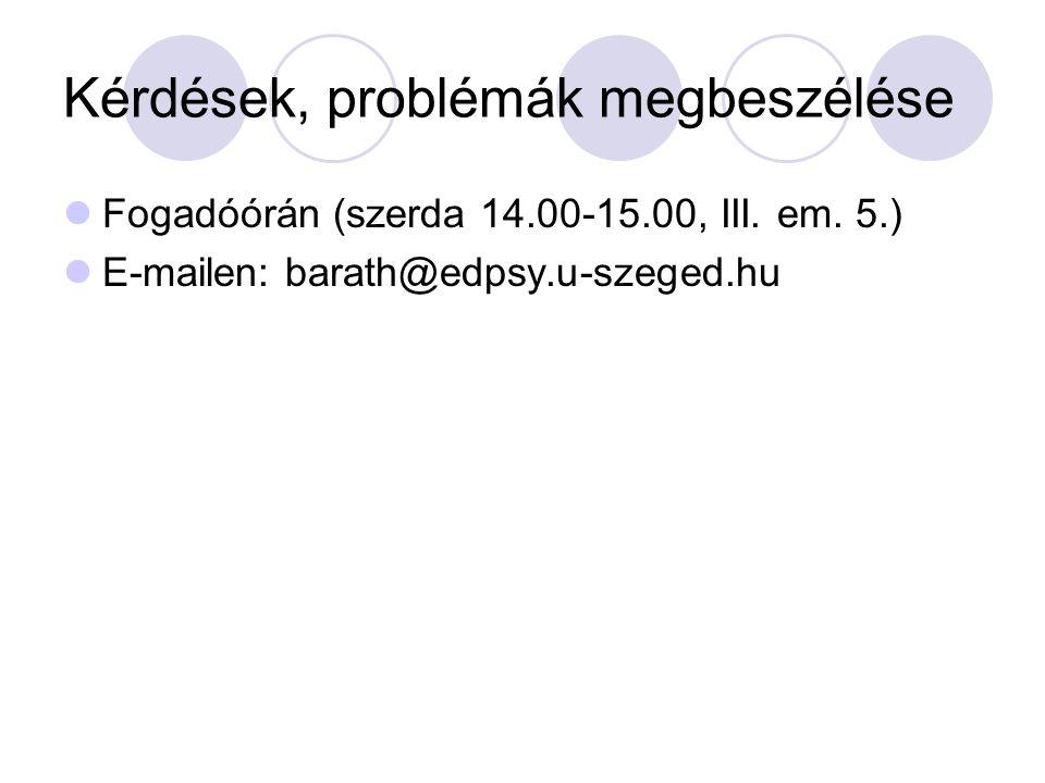 Kérdések, problémák megbeszélése Fogadóórán (szerda 14.00-15.00, III. em. 5.) E-mailen: barath@edpsy.u-szeged.hu