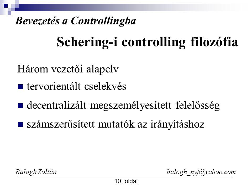 Balogh Zoltán balogh_nyf@yahoo.com 10. oldal Bevezetés a Controllingba Három vezetői alapelv tervorientált cselekvés decentralizált megszemélyesített