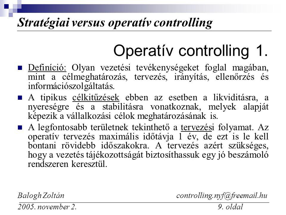 Stratégiai versus operatív controlling Balogh Zoltán controlling.nyf@freemail.hu 2005.