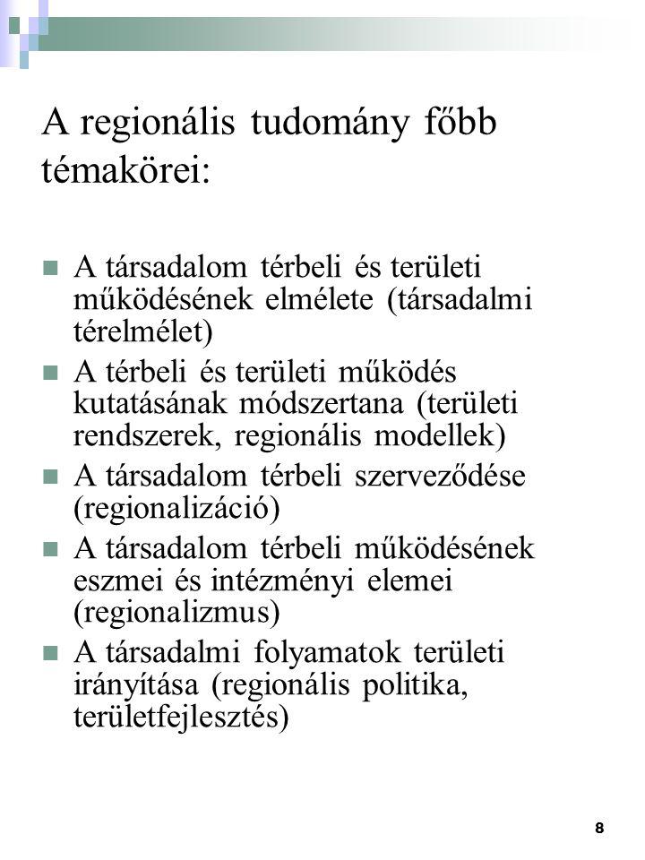 8 A regionális tudomány főbb témakörei: A társadalom térbeli és területi működésének elmélete (társadalmi térelmélet) A térbeli és területi működés ku