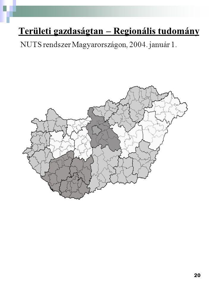 20 Területi gazdaságtan – Regionális tudomány NUTS rendszer Magyarországon, 2004. január 1.