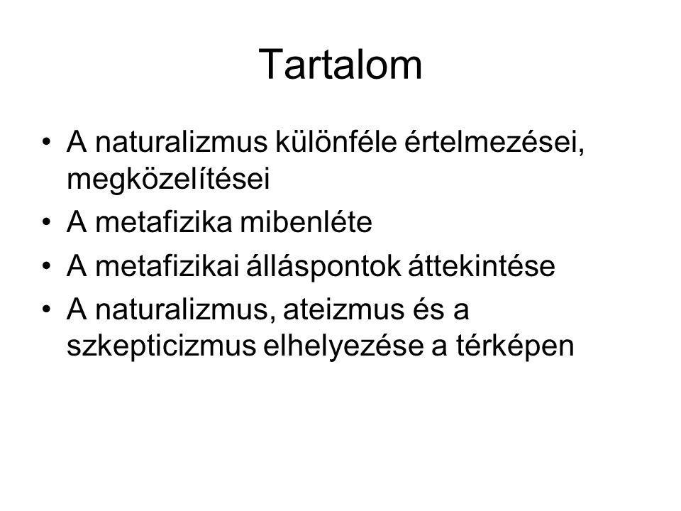Tartalom A naturalizmus különféle értelmezései, megközelítései A metafizika mibenléte A metafizikai álláspontok áttekintése A naturalizmus, ateizmus és a szkepticizmus elhelyezése a térképen