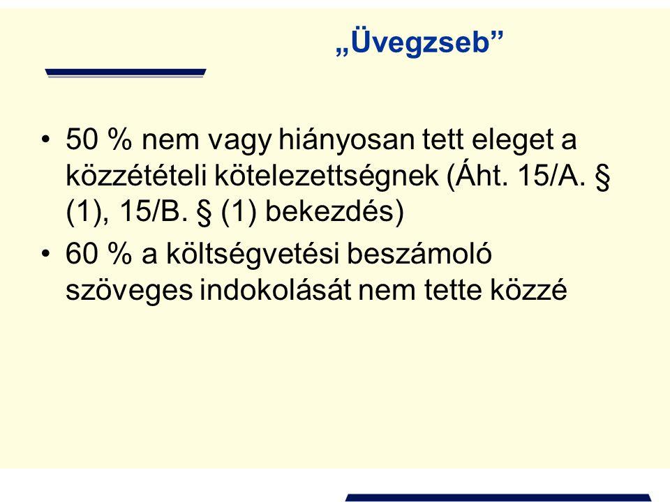 """""""Üvegzseb"""" 50 % nem vagy hiányosan tett eleget a közzétételi kötelezettségnek (Áht. 15/A. § (1), 15/B. § (1) bekezdés) 60 % a költségvetési beszámoló"""