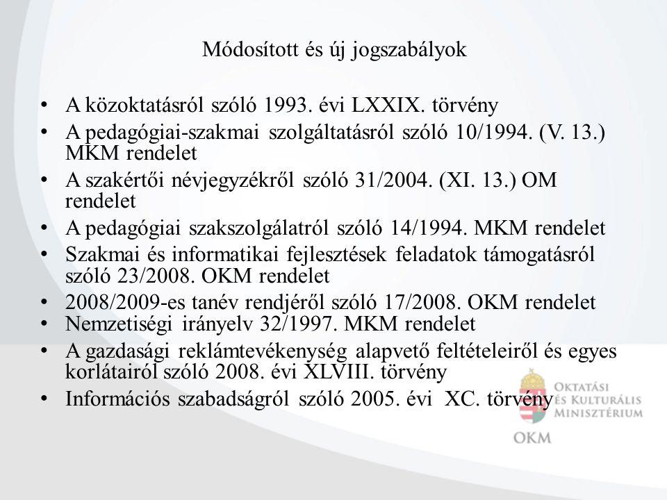 Módosított és új jogszabályok A közoktatásról szóló 1993. évi LXXIX. törvény A pedagógiai-szakmai szolgáltatásról szóló 10/1994. (V. 13.) MKM rendelet