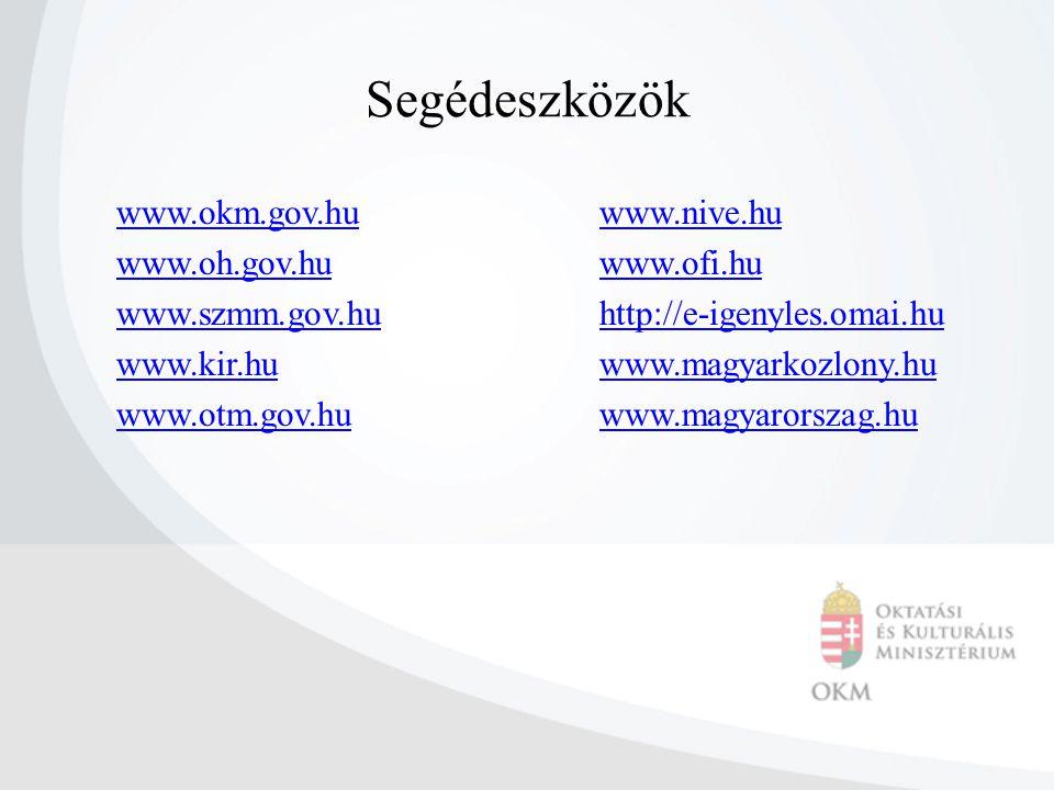 Segédeszközök www.okm.gov.hu www.oh.gov.hu www.szmm.gov.hu www.kir.hu www.otm.gov.hu www.nive.hu www.ofi.hu http://e-igenyles.omai.hu www.magyarkozlon