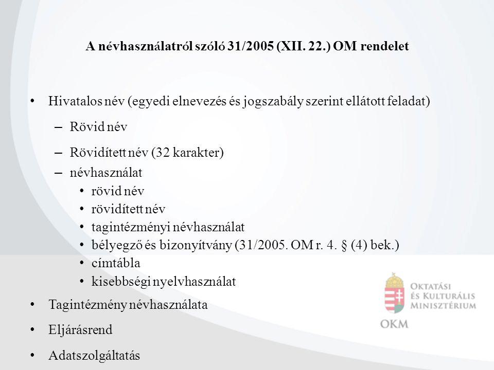 A n é vhaszn á latr ó l sz ó l ó 31/2005 (XII. 22.) OM rendelet Hivatalos név (egyedi elnevezés és jogszabály szerint ellátott feladat) – Rövid név –