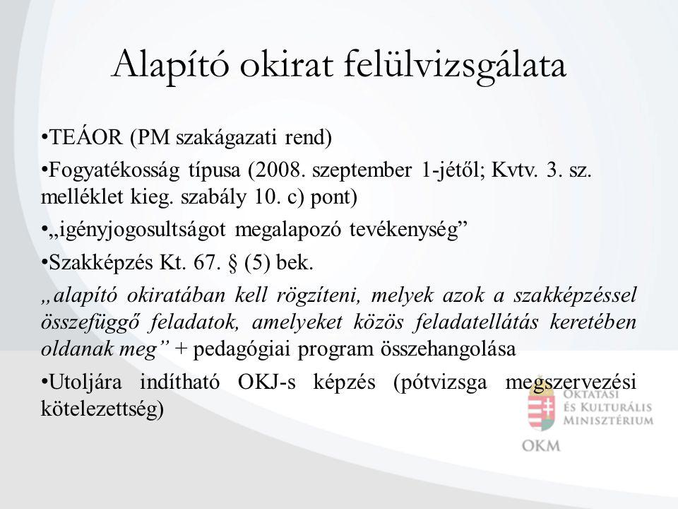 Alapító okirat felülvizsgálata TEÁOR (PM szakágazati rend) Fogyatékosság típusa (2008. szeptember 1-jétől; Kvtv. 3. sz. melléklet kieg. szabály 10. c)