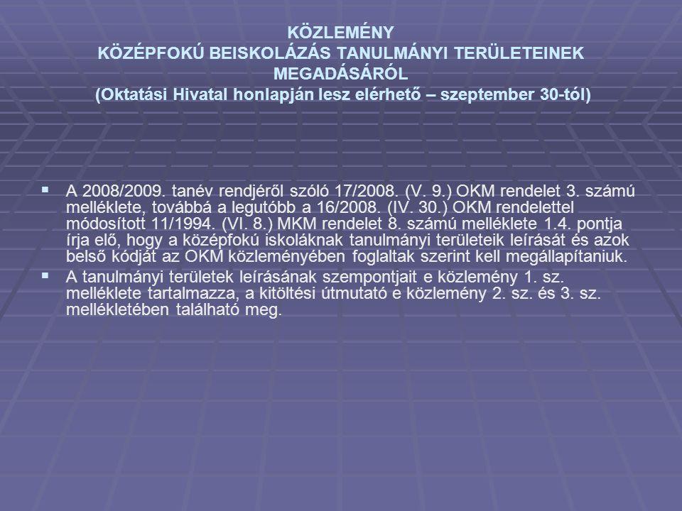 KÖZLEMÉNY KÖZÉPFOKÚ BEISKOLÁZÁS TANULMÁNYI TERÜLETEINEK MEGADÁSÁRÓL (Oktatási Hivatal honlapján lesz elérhető – szeptember 30-tól)   A 2008/2009. ta