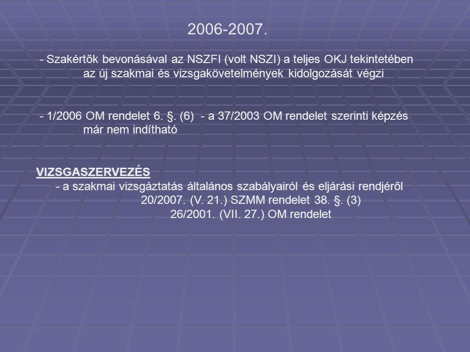 2006-2007. - Szakértők bevonásával az NSZFI (volt NSZI) a teljes OKJ tekintetében az új szakmai és vizsgakövetelmények kidolgozását végzi - 1/2006 OM