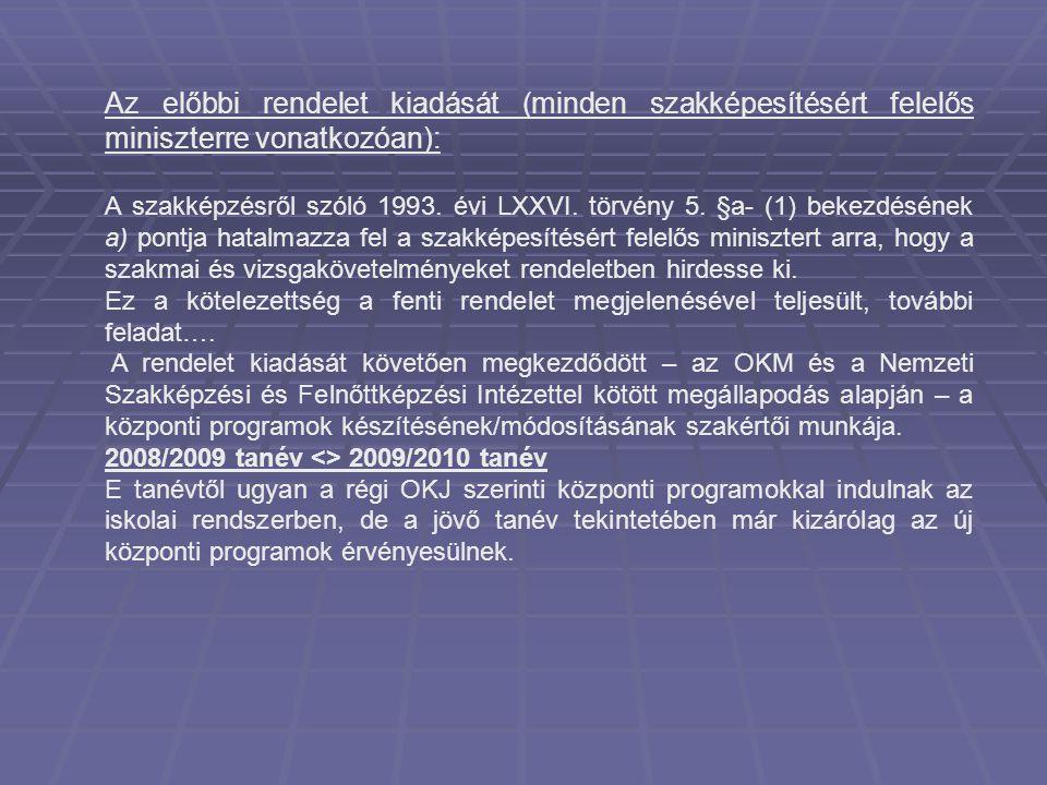 Az előbbi rendelet kiadását (minden szakképesítésért felelős miniszterre vonatkozóan): A szakképzésről szóló 1993. évi LXXVI. törvény 5. §a- (1) bekez