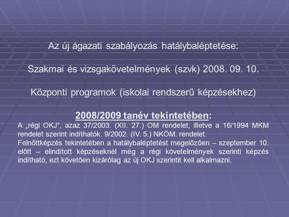 Az új ágazati szabályozás hatálybaléptetése: Szakmai és vizsgakövetelmények (szvk) 2008. 09. 10. Központi programok (iskolai rendszerű képzésekhez) 20