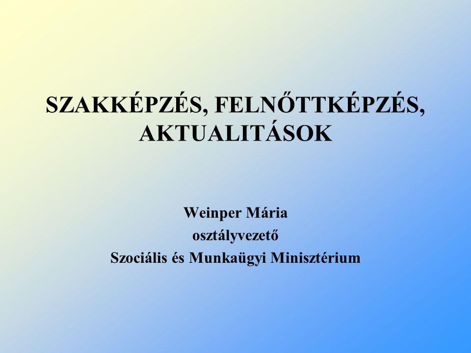 SZAKKÉPZÉS, FELNŐTTKÉPZÉS, AKTUALITÁSOK Weinper Mária osztályvezető Szociális és Munkaügyi Minisztérium