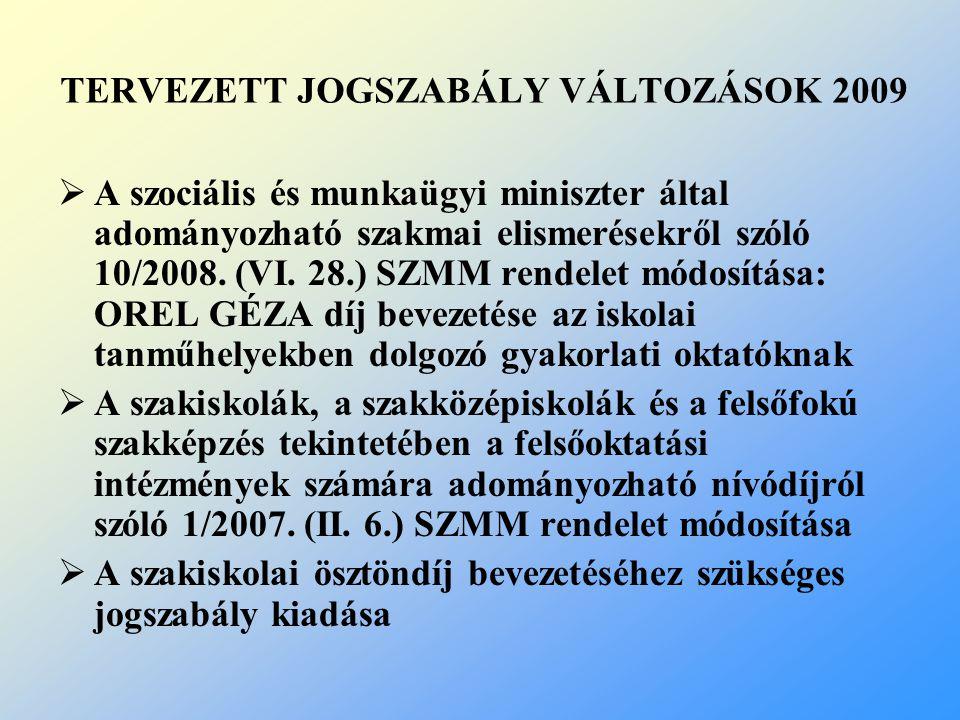 TERVEZETT JOGSZABÁLY VÁLTOZÁSOK 2009  A szociális és munkaügyi miniszter által adományozható szakmai elismerésekről szóló 10/2008.