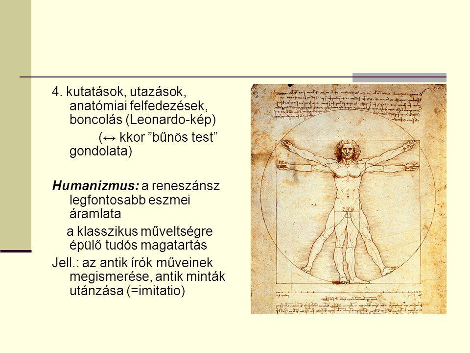 """4. kutatások, utazások, anatómiai felfedezések, boncolás (Leonardo-kép) (↔ kkor """"bűnös test"""" gondolata) Humanizmus: a reneszánsz legfontosabb eszmei á"""