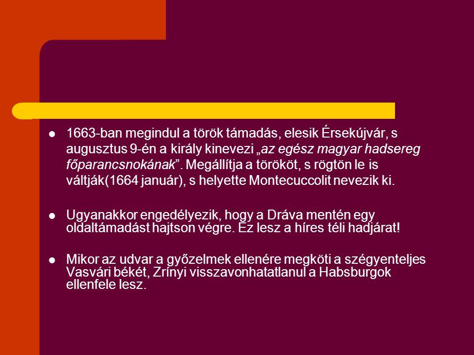 """1663-ban megindul a török támadás, elesik Érsekújvár, s augusztus 9-én a király kinevezi """"az egész magyar hadsereg főparancsnokának ."""