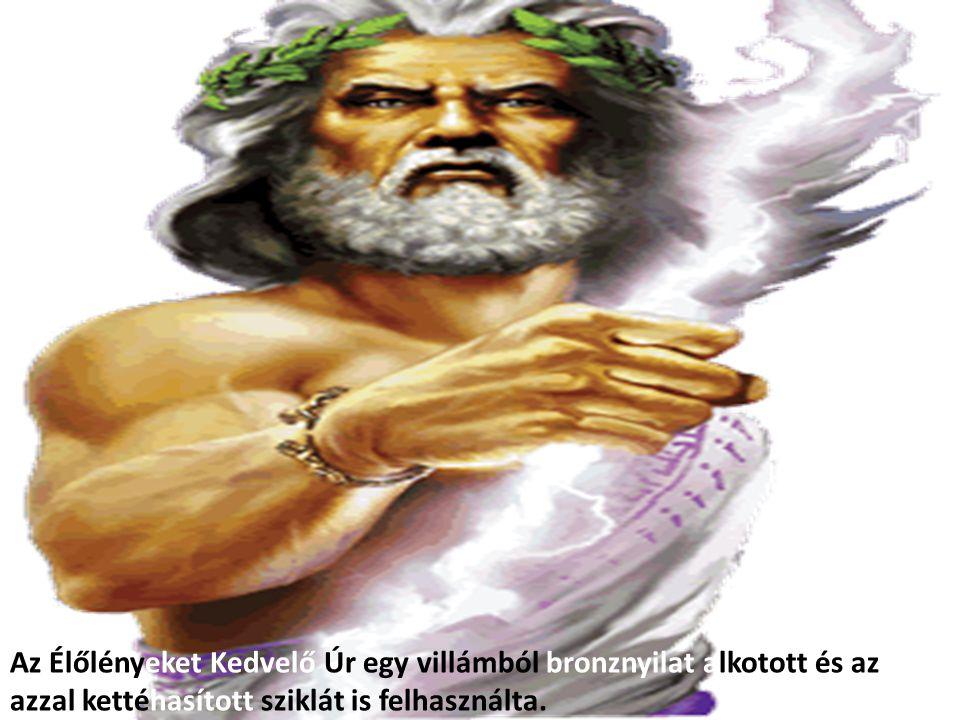 Az Élőlényeket Kedvelő Úr egy villámból bronznyilat alkotott és az azzal kettéhasított sziklát is felhasználta.