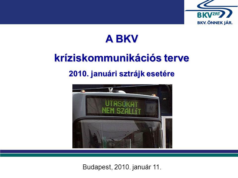 A BKV kríziskommunikációs terve 2010. januári sztrájk esetére Budapest, 2010. január 11.