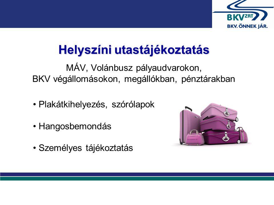 Helyszíni utastájékoztatás MÁV, Volánbusz pályaudvarokon, BKV végállomásokon, megállókban, pénztárakban Plakátkihelyezés, szórólapok Hangosbemondás Sz