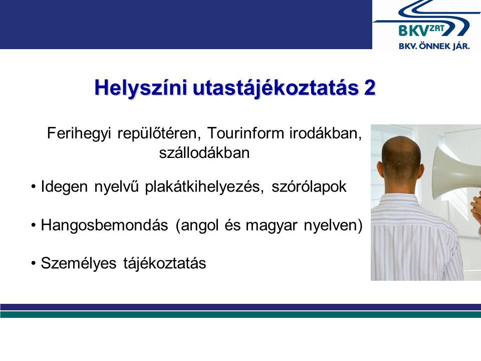 Helyszíni utastájékoztatás 2 Ferihegyi repülőtéren, Tourinform irodákban, szállodákban Idegen nyelvű plakátkihelyezés, szórólapok Hangosbemondás (ango