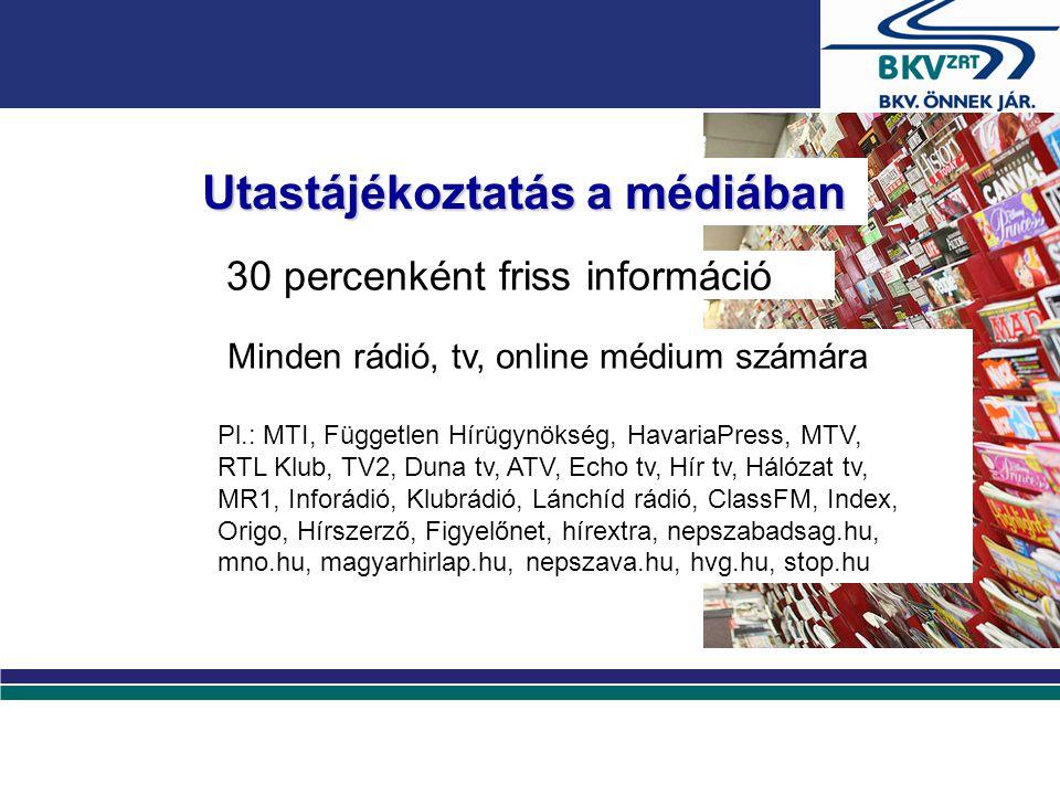 Utastájékoztatás a médiában 30 percenként friss információ Minden rádió, tv, online médium számára Pl.: MTI, Független Hírügynökség, HavariaPress, MTV