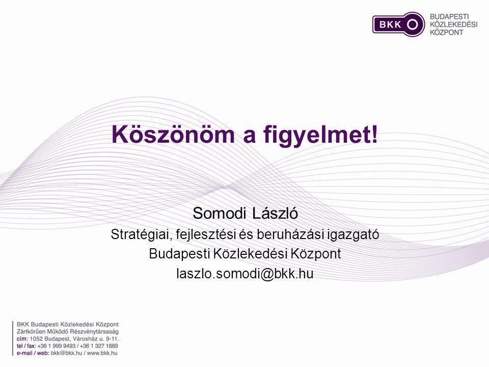 Köszönöm a figyelmet! Somodi László Stratégiai, fejlesztési és beruházási igazgató Budapesti Közlekedési Központ laszlo.somodi@bkk.hu