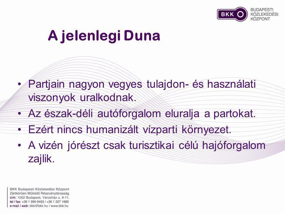 A jelenlegi Duna Partjain nagyon vegyes tulajdon- és használati viszonyok uralkodnak. Az észak-déli autóforgalom eluralja a partokat. Ezért nincs huma