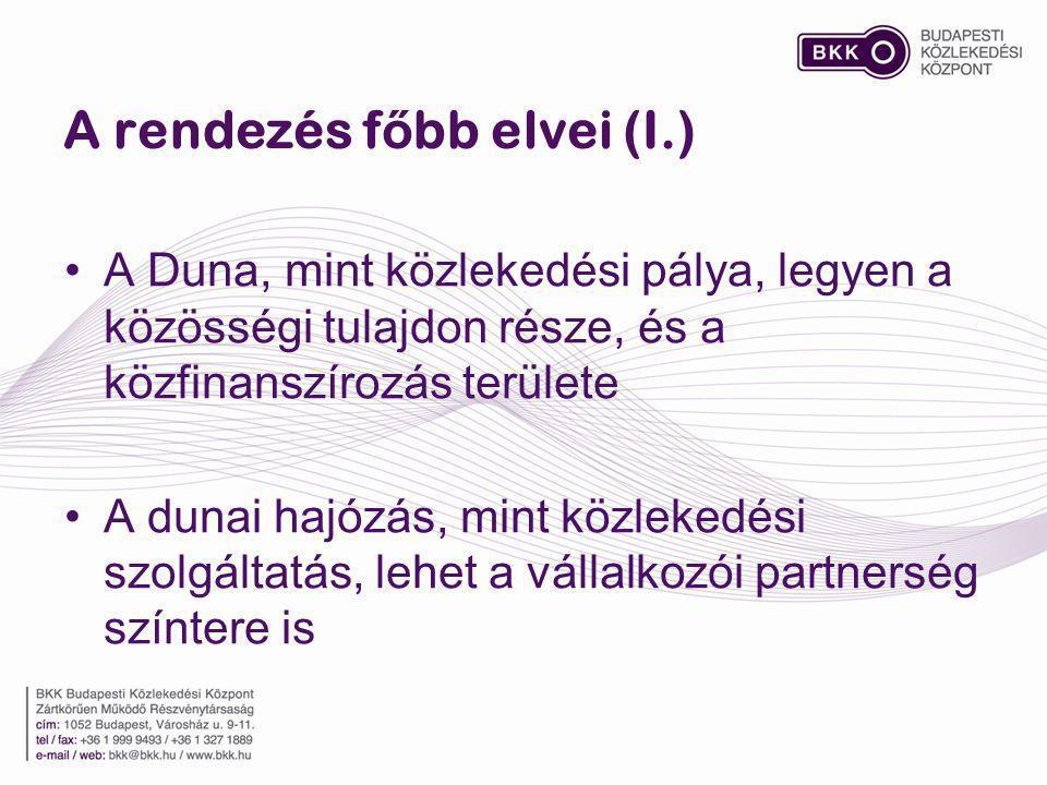 A rendezés f ő bb elvei (II.) Ki kell aknázni a vízparti attrakciók lehetőségeit (kulturális, szórakoztató, turisztikai, vendéglátó létesítmények) Meg kell találni a Dunán horgonyzó szállodahajók és a főváros kölcsönösen előnyös együttműködését