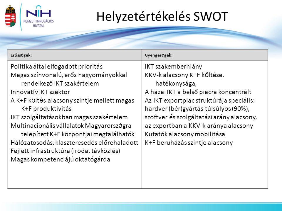 Helyzetértékelés SWOT Erőss é gek:Gyenges é gek: Politika által elfogadott prioritás Magas színvonalú, erős hagyományokkal rendelkező IKT szakértelem